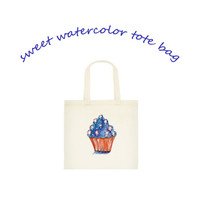 Red White and Blue Star Cupcake Small Tote Bag