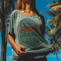 Cute and vintage oversized Respect The Destination graphic t shirt