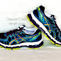 Womens' ASICS® Gel - Kayano 20 in Black/Blue/Plum with Swarovski crystal details