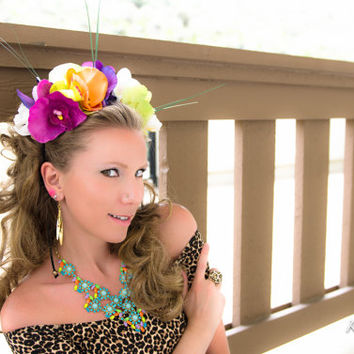 LIMITED Orchid Tropical Flower Crown, Katy Perry Roar, Katy Perry Costume, TomorrowWorld, Beyond Wonderland, Nocturnal Wonderland, Ezoo