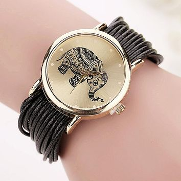 Elephant Leather Braid Watch