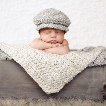 Baby Boy Irish Donegal Cap, Preemie/Newborn Baby Boy Crochet Irish Donegal Baby Hat - Gray, Cream Tweed Wool Photography Prop Baby Boy Hat