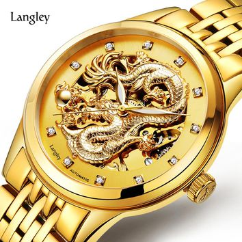 LANGLEY Luxury Brand Watches Golden Men's Business Watch Waterproof Stainless Steel Automatic Watches Male Dress Dragon Watch