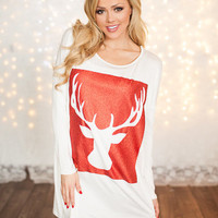 Deer Silhouette Tunic White/Red