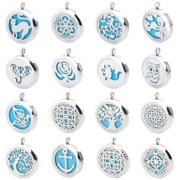 25 styles Aromatherapy Essential Oil Surgical Stainless Steel Necklace Perfume Diffuser Pendant Locket- NO CHAIN