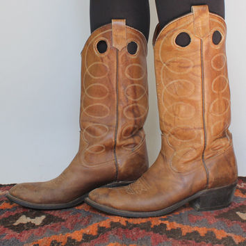 SALE - Vintage - Stitched - Distressed Brown Leather - Cowboy Boots - Mens 8.5 / 9 - Texas