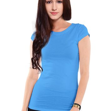 Women's Solid Athletic Fit Short Sleeve Cotton Crew Neck T-Shirt