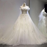 Real New Ivory boho Wedding dress vestidos de novia ball gown beading crystal wedding dresses princess bridal gown