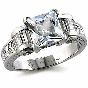 A Vintage Style Perfect 3CT Princess Cut Russian Lab Diamond Baguette Accents Ribbon Ring