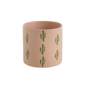 "Pink Blush Ceramic Flower Pot with Cactus Print - 4.25"" Tall x 4.5"" Wide"
