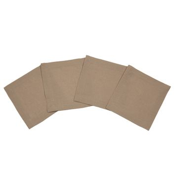 Coffee Brown Linen Cocktail Napkin   S/4