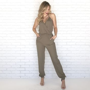 Keep It Simple Jumpsuit in Olive