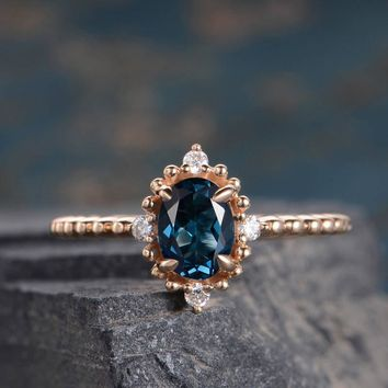 Engagement Ring Halo Diamond Half Eternity London Blue Topaz Oval Cut Anniversary Promise Ring