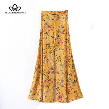 Bella Philosophy 2018 Boho style floral print long skirts bottoms beach maxi skirt Elastic vintage chic sexy skirt female