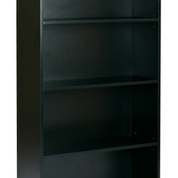 "Office Star Prado 60"" 4-Shelf Bookcase with 3/4"" Shelves and 2 Adjustable/ 2 Fixed Shelves in Black [PRD3260-BLK]"