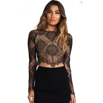 Geometric Embroidered Eyelash Lace Long Sleeve Crop Top