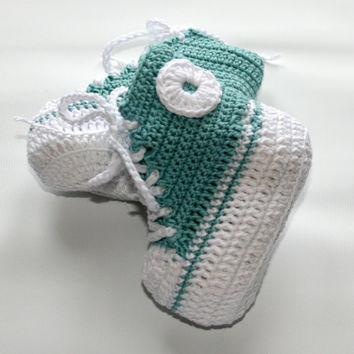 Baby booties Crochet cotton baby sneakers size 3 to 6 months Cute trendy cool Handmade crocheted bootys Aquamarine Babies clothes & footwear