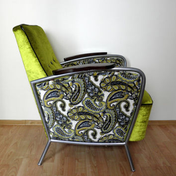 Restored metal frame chair from 1950's