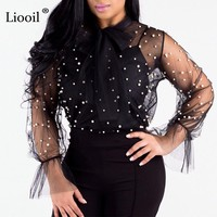 Liooil Beaded Mesh Top Long Sleeve Bow Sexy See Through Women Tshirt Black White Casual Spring Summer Club Female Tops T Shirt