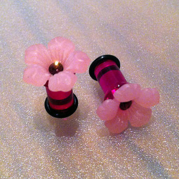 2G Pink Camellia Flower Plugs with Swarovski Crystal - Girly, romantic gauges