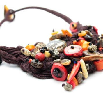Macramé Bib Necklace Raw Stone Statement Jewelry Amber Coral Linen Necklace Freeform Red Orange Cordovan Abalone Shell Pyrite Turquoise
