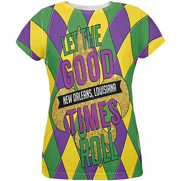 Mardi Gras Let the Good Times Roll Jester All Over Womens T Shirt