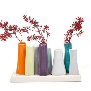 Chive - Pooley 2, Unique Ceramic Flower Vase, Low Rectangular Modern Decorative Vase for Home Decor Living Room Office and centerpieces, Orange Purple Teal