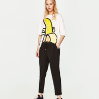 TROUSERS WITH STRETCH WAIST DETAILS