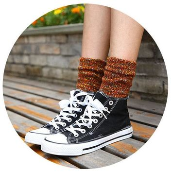 Artistic Colorful Warm Middle Tube Socks Thick Lines Piles Socks For Women