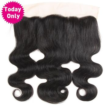 Brazilian Body Wave Bundles 13x4 Ear to Ear Lace Frontal Closure With Baby Hair Human Hair Bundles Non Remy Natural