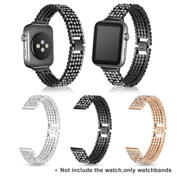 2018 New Smart Watch Jeweled Watchbands Solid Chain Type Watch Accessories Jeweled 5 Balls Watchband for Apple Watch 3