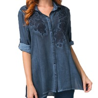 Andree by Unit Floral Embroidered Button Top Dark Denim