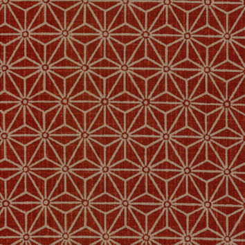 Hemp Leaf Red and Tan Japanese Cotton Quilting Fabric KW-3650-1C