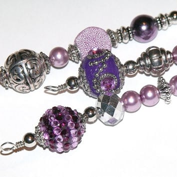 Purple and Silver Icicle Ornaments - vintage inspired beaded Christmas tree decorations