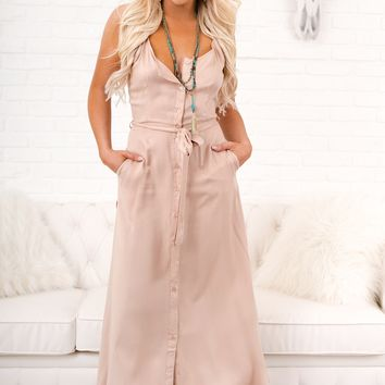 Take You Back Button Up Dress (Sand)