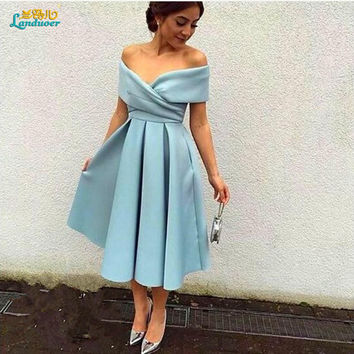 Robe de cocktail Short Prom Cocktail Dresses 2017 elegant V neck matte satin tea Length Formal party Dresses vestidos de coctel