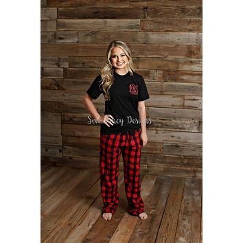 Christmas Pajamas - Black Shirt - Buffalo Plaid/Polka Dot Pants