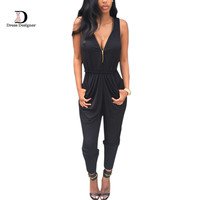 Deep V neck Zipper Front Bodycon Elegant Jumpsuit