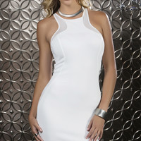 High Collar Cocktail Dress with Mesh Contrast