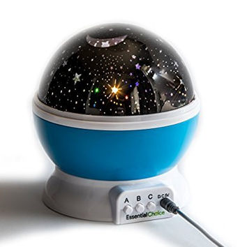[New & Improved] Essential Choice - Constellation Projector Baby Night Light *USB Wall Adapter & 8FT Cord Included* - 4 Bright Colours with 360 Degree Moon Star Projection and Rotation - Nursery Lamp