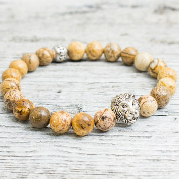 Brown jasper stone beaded silver Lion head stretchy bracelet, yoga bracelet, mens bracelet, womens bracelet