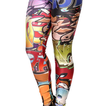 Graffiti Print Leggings Design 203