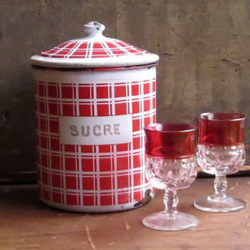 Vintage French Enamel Sugar Canister, Red Checked Graniteware, Enamelware Sucre Jar, Kitchen Storage Container, Rustic Decor