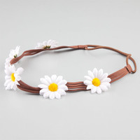 Full Tilt Daisy Suede Strap Headband White One Size For Women 24189515001