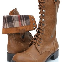 Women's Tan Lace-up Combat Folded Cuff Riding Mid-Calf Boots Soda Oralee