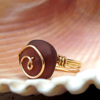 Purple Sea Glass Ring:  24K Gold Swirl Spiral Wire Wrapped Amethyst Plum Beach Jewelry, Size 7