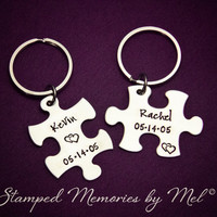His and Hers - Name and Date Personalized Set- Hand Stamped Puzzle Piece Keychain Set - Couple Key Chain - Wedding, Anniversary Gift for Her
