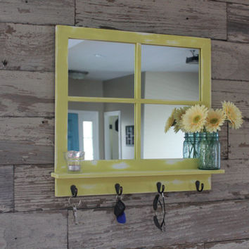 Rustic Country Chic 4 Key Hook Mirror with Shelf
