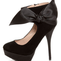 Carissa 13 Black Side Bow Ankle Cuff Platform Pumps - $39.00
