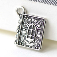 Holy Bible Classic Book Antique Silver 3D Charms  13.5x15mm Set of 10 A8145